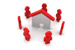 люди 3d с домом, концепцией недвижимости Стоковая Фотография RF