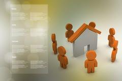 люди 3d с домом, концепцией недвижимости Стоковая Фотография