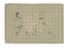 2 люд приниманнсяое за Kung Fu Стоковые Фото