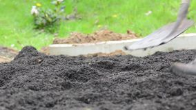 2 люд работая в грязи и почве сада выкапывая с лопаткоулавливателями видеоматериал