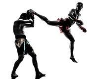 2 люд работая тайский силуэт бокса Стоковые Изображения RF