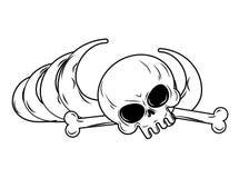 людск остает Косточки, скелет и череп иллюстрация штока