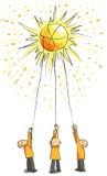 3 люд улавливают солнце с веревочками Стоковая Фотография RF