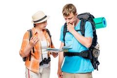 Юлящ туристы думают и обсуждают трасса Стоковое Изображение RF