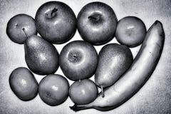 Яблоки, груши и предпосылка банана черно-белая абстрактная Стоковые Изображения RF