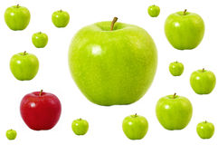 яблоки зеленеют один красный цвет Стоковое фото RF