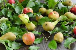 Яблоки и груши на темной деревянной предпосылке Стоковая Фотография