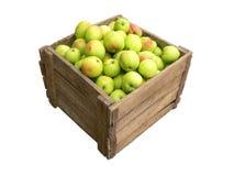 яблоки кладут польностью старое деревянное в коробку Стоковая Фотография RF