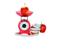 Яблоки, маштабы и измерение Стоковая Фотография
