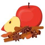 Яблоки, миндалина и душистые специи иллюстрация вектора