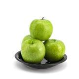 яблоко - зеленая плита стоковые изображения rf