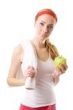 яблоко - зеленая sporty женщина полотенца стоковые изображения rf