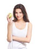 яблоко - зеленый детеныш женщины портрета удерживания Стоковое Изображение