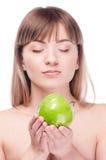 яблоко - зеленый детеныш женщины Стоковая Фотография RF