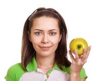 яблоко - зеленый счастливый детеныш женщины Стоковая Фотография