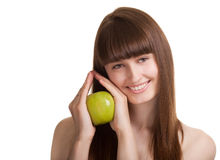 яблоко - зеленый счастливый ся детеныш женщины Стоковое Изображение