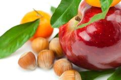 яблоко - зеленый цвет выходит мандарину nuts красный цвет Стоковое Изображение RF