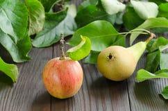 Яблоко и груша на темной деревянной предпосылке Стоковая Фотография RF