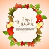 Яблоко и канерейка облака счастливой осени красочные иллюстрация штока