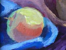 Яблоко покрашенное цветом на холсте бесплатная иллюстрация