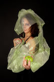 яблоко смотрело на женщину зеленого цвета 2 Стоковые Изображения