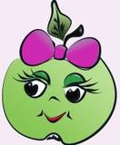 Яблоко с картиной графика смычка и улыбки Стоковое Изображение RF