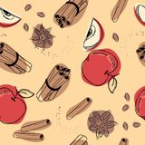 Яблоко с картиной циннамона безшовной Стоковые Фото