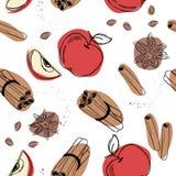 Яблоко с картиной циннамона безшовной Стоковое Изображение RF
