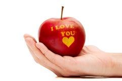 яблоко с словами Я ТЕБЯ ЛЮБЛЮ Стоковые Фотографии RF