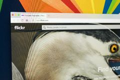 Яблоко iMac с домашней страницей Flickr на экране монитора Flickr видео- хозяйничая вебсайт сети Домашняя страница Flickr com на  Стоковая Фотография RF
