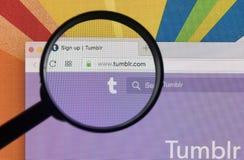 Яблоко iMac с домашней страницей Tumblr на экране монитора под лупой Домашняя страница Tumblr com Tumblr microblogging Стоковые Фотографии RF