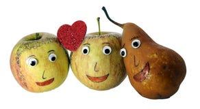 2 яблока с сердцем и ГРУШЕЙ Стоковое фото RF