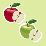 Яблоки вектора красные и зеленые Стоковые Фото