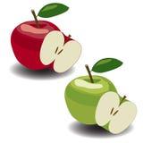 Яблоки вектора красные и зеленые Стоковые Фотографии RF