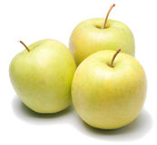 яблоки зеленеют изолированную белизну стоковая фотография