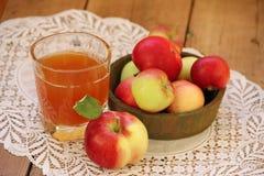 Яблоки и яблочный сок Стоковые Фотографии RF