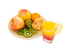 Яблоки, киви, tangerines Стоковое Изображение