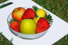 Яблоки, клубники, плодоовощи Стоковое фото RF