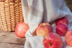 яблоки ставят деревянное на обсуждение стоковые изображения rf