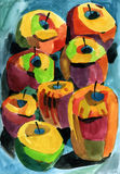 Яблоки Watercolour Стоковые Фотографии RF