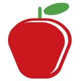 Яблоко вектора шаржа простое очень вкусное красное изолированное в задней части белизны Стоковая Фотография