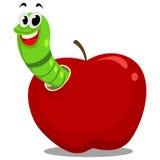 яблоко внутри глиста Стоковая Фотография