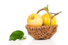 Яблоко в корзине Стоковое Изображение