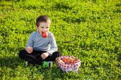 яблоко есть малыша Стоковые Изображения RF