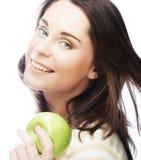 яблоко - зеленый детеныш женщины портрета Стоковая Фотография RF