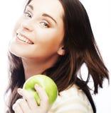 яблоко - зеленый детеныш женщины портрета Стоковое фото RF