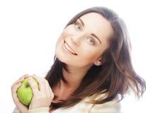 яблоко - зеленый детеныш женщины портрета Стоковая Фотография