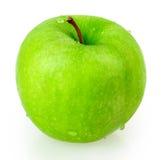 Яблоко, зеленый цвет, вода падения Стоковое Изображение RF