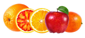 Яблоко и оранжевый плодоовощ изолированные на белизне Стоковые Изображения RF