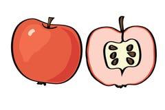 Яблоко иллюстрации вектора на белой предпосылке Стоковые Изображения